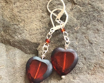 Heart of Glass Red Dangle/Drop Earrings with Sterling Silver Ear Wires