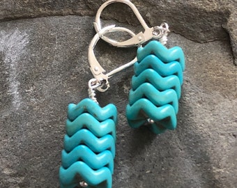 Turquoise Howlite and Sterling Silver Chevron Cylinder Drop/Dangle Earrings