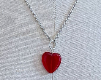 Heart of Glass Pendant Necklace - Red - Valentine's Day - Stainless Steel Chain