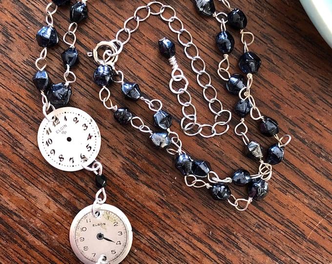 Vintage Watch Face Pendant Necklace