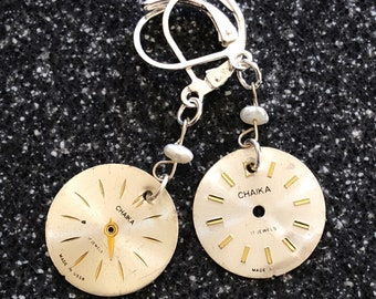 Vintage Watch Face and Pearl Earrings - Sterling Silver