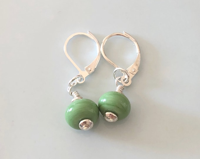 Handmade Glass Bead Earrings - Drop - Green Apple - Sterling Silver