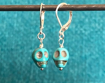 Turquoise Howlite and Sterling Silver Skull Drop/Dangle Earrings