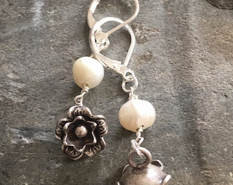 Hill Tribe Silver and Freshwater Pearl Flower Drop Earrings with Sterling Ear Wires