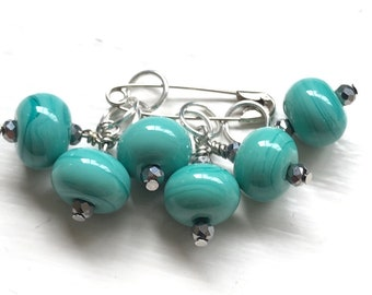 Handmade Glass Bead Stitch Markers | Turquoise | Set of 6 | Knitting | Silver plated