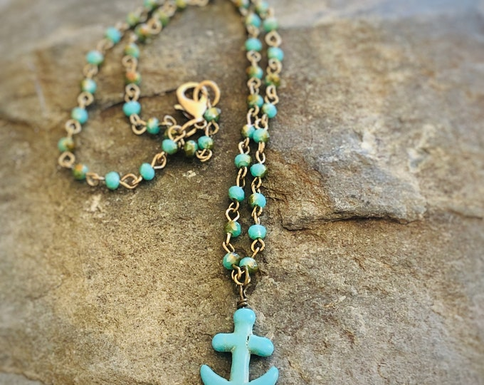 Anchor Pendant Necklace | Turquoise-colored Howlite | Glass and Brass Rosary Bead Chain