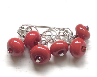 Handmade Glass Bead Stitch Markers | Red | Set of 6 | Knitting | Crocheting