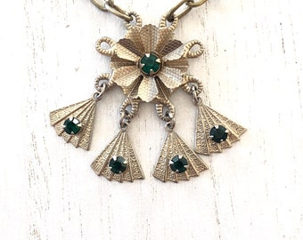 Vintage Upcycled Pendant Necklace with Emerald Green Rhinestones