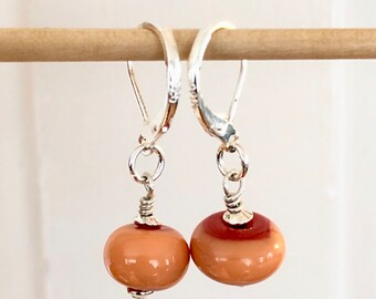 Handmade Glass Bead Earrings   Sterling Silver   Orange Two Tone   Drop   Dangle