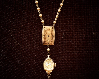 Vintage Waltham Watch Case and Face Pendant Necklace - Art Deco/Midcentury