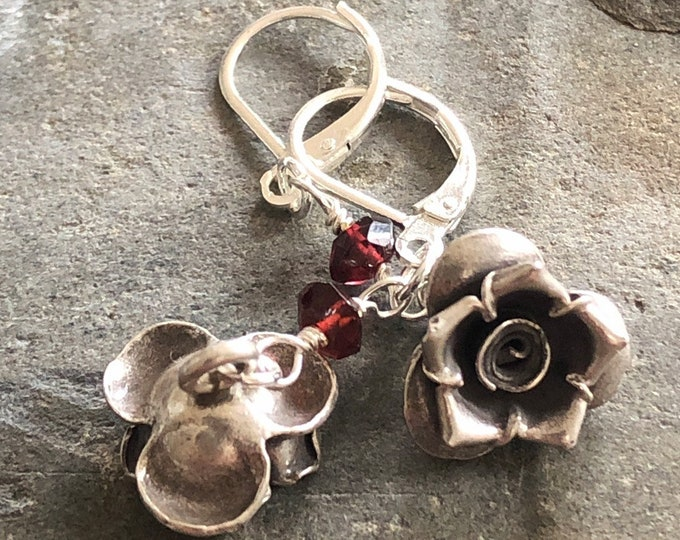 Hill Tribe Silver and Garnet Flower Dangle/Drop Earrings with Sterling Ear Wires