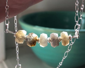 Handmade Labradorite Bead Necklace  - Sterling Silver