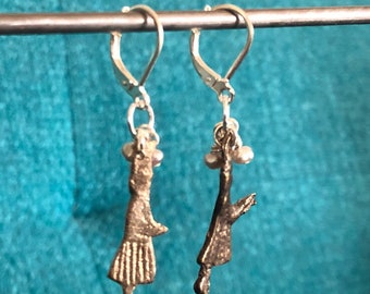 Milagro Praying Lady Charm, Pearl Beads, and Sterling Silver Dangle/Drop Earrings