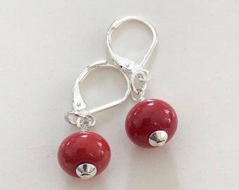 Handmade Glass Bead Earrings | Sterling Silver | Red | Drop | Dangle