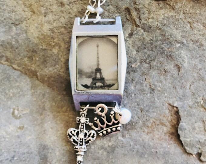 Vintage Watch Case Necklace | Eiffel Tour | Paris | Watch Parts | Pearl | Charms | Original Photography | Handmade