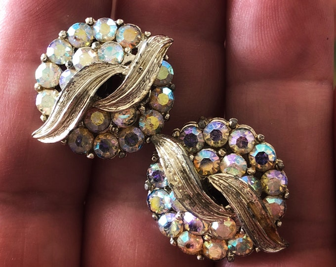 Vintage Coro Iridescent Rhinestone Earrings - Clip On - Signed - Costume Jewelry