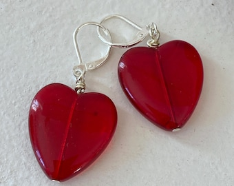 Heart of Glass Earrings - Red - Dangle - Sterling Silver Wires - Valentine's Day