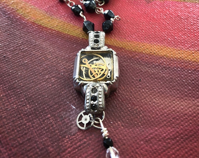 Vintage Watch Parts Necklace with Vintage Iridescent Black Rosary-style Bead Chain