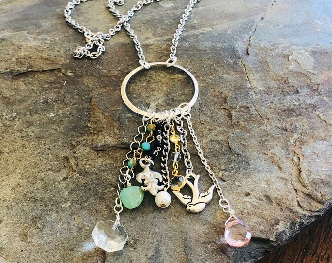 Trinket Charm Pendant Necklace | Stainless Steel Chain | Swallow | Fleur de lis | Chandelier Crystal | Semiprecious and glass beads