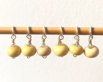 Handmade Glass Bead Stitch Markers | Yellow | Set of 6 | Knitting | Silver plated