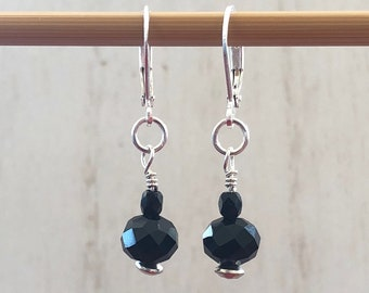Earrings - Faceted Jet Black Glass Bead - Sterling Silver