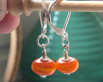 Handmade Glass Bead Earrings | Sterling Silver | Orange | Drop | Dangle