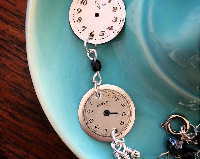 Vintage Watch Face Necklace - Elgin and Elbon