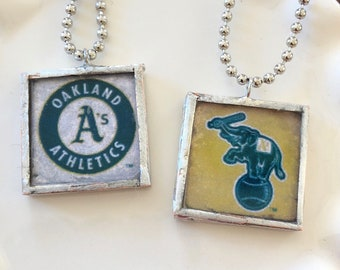 Oakland A's Glass Tile Pendant Necklace - Baseball - Stomper - Handmade
