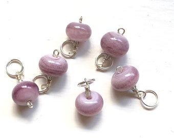 Handmade Glass Bead Stitch Markers | Lilac | Set of 6 | Knitting | Silver plated