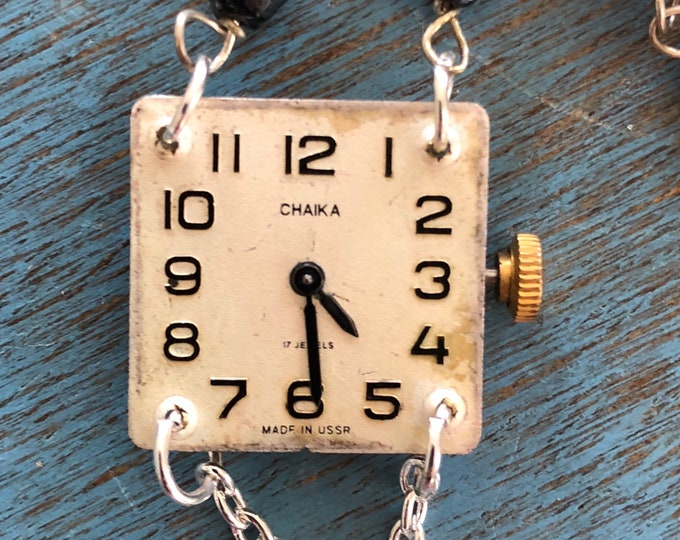 Vintage Chaika Watch Case and Movement Necklace with Glass and Silver Rosary Bead Chain