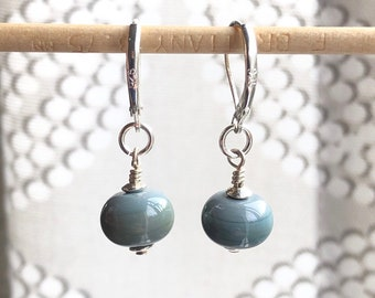 Handmade Glass Bead Earrings | Sterling Silver | Gray | Drop | Dangle
