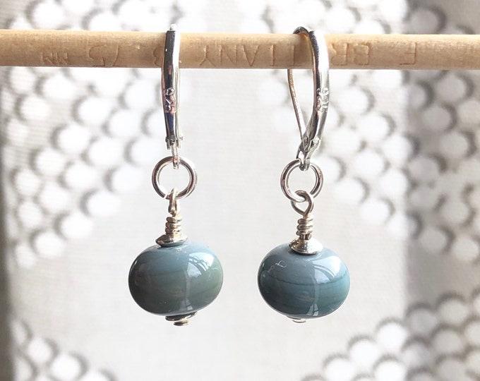 Handmade Glass Bead Earrings | Sterling Silver | Gray | Drop | Dangle