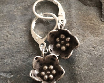 Hill Tribe Silver Flower Drop Earrings with Sterling Ear Wires