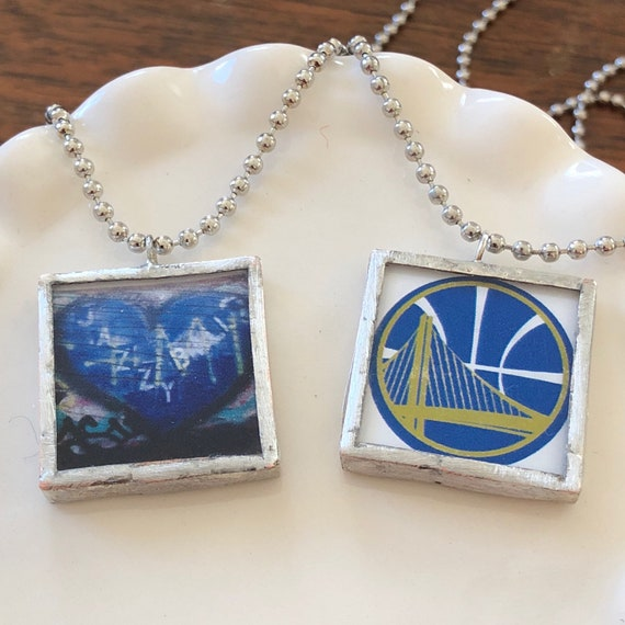 Golden State Warriors Glass Tile Necklace - Basketball - Oakland - Handmade