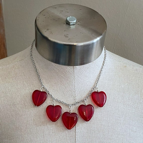 Heart of Glass Charm Necklace - Red - Stainless Steel Chain