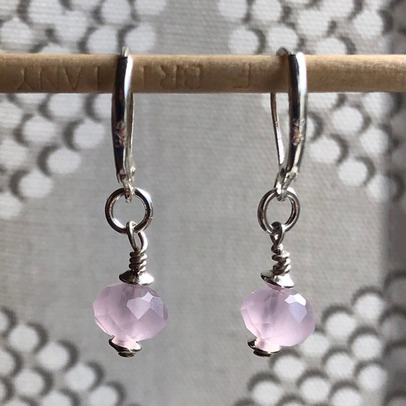 Earrings - Faceted Pink Quartz Glass Bead and Sterling Silver Glass Bead - Sterling Silver