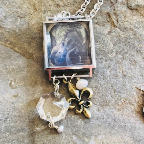 Vintage Watch Case Necklace | Watch Parts | Fleur de lis | Chandelier Crystal | Pearl | Charms | Original Photography | Handmade