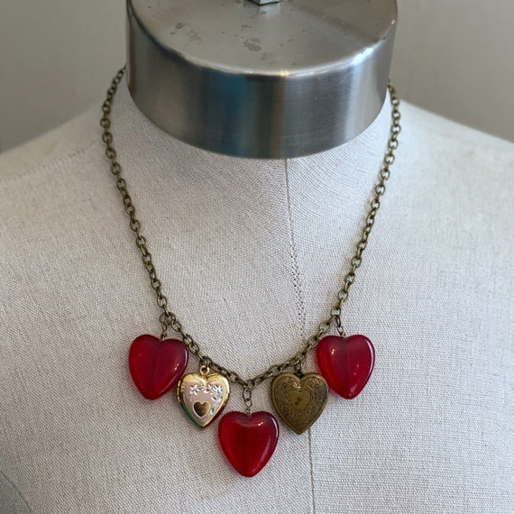 Heart of Glass Charm and Locket Necklace - Red - Brass
