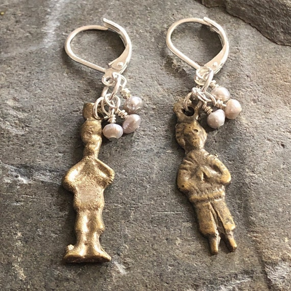 Milagro Praying People Charm, Pearl Beads, and Sterling Silver Dangle/Drop Earrings