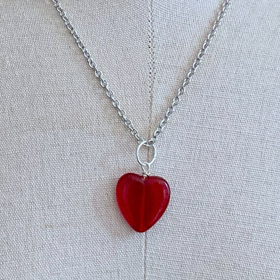 Heart of Glass Pendant Necklace - Red - Stainless Steel Chain