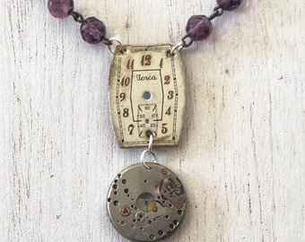 Vintage Watch Parts Necklace - Amethyst colored glass beads - Art Deco