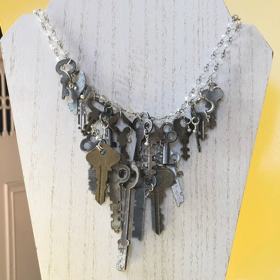 Double Stranded Vintage Keys Necklace with Semiprecious Stones | Pearl | Smoky Topaz | Glass Beaded Rosary-Style Chain