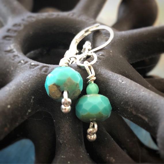 Turquoise Czech Glass Beaded Earrings - Sterling Silver