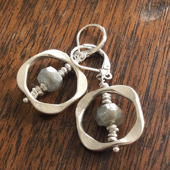 Hill Tribe Silver and Labradorite Dangle/Drop Earrings with Sterling Ear Wires