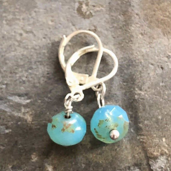 Turquoise Czech Glass Dangle/Drop Earrings with Sterling Silver Ear Wires