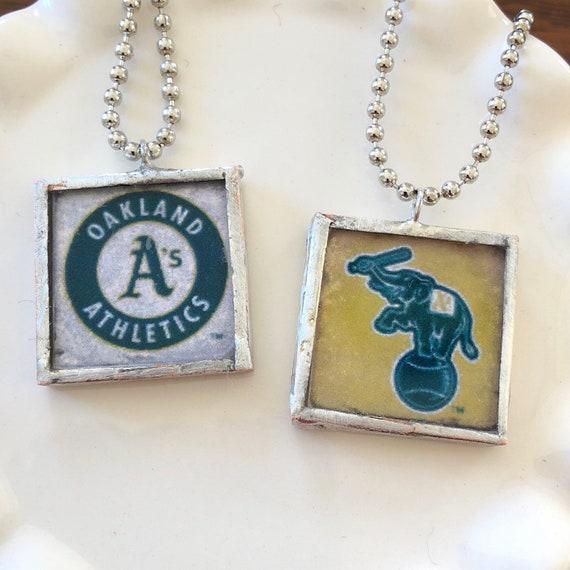 Oakland A's Glass Tile Pendant Necklace - Baseball - Stomper - Handmade