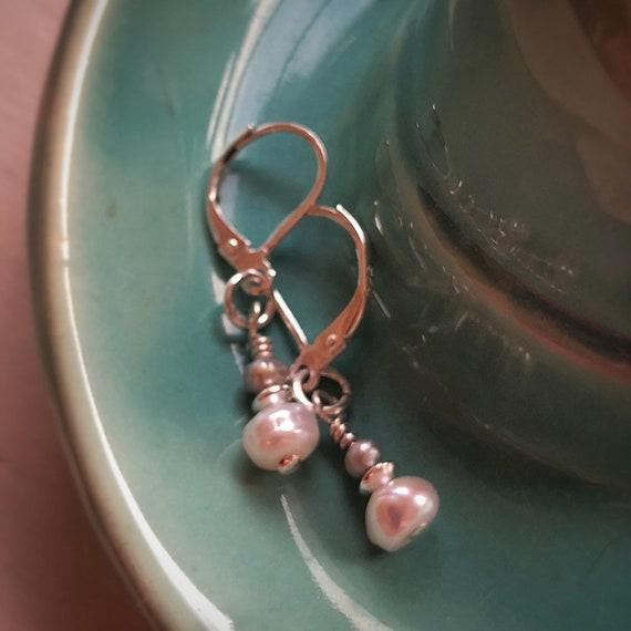Genuine Freshwater Pearl and Sterling Silver Drop Earrings