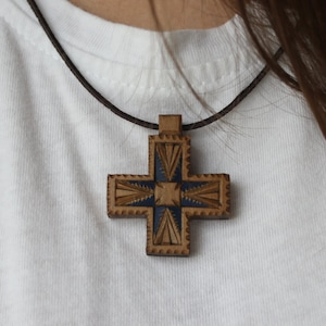 Carved Wooden Cross Etno Ornament Woodcarving Wooden Jewerlry Accessories Original Ukraine Necklace