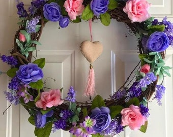 Spring Wreath,  Mothers Day Wreath, Interior Wreath, Bedroom Wreath,  All occasion Wreath, Purple,  Pink,  Roses,  Home Decor,   Front Door