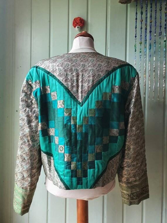 Vintage Patchwork Jacket,Quilt,Handmade Gr.XL